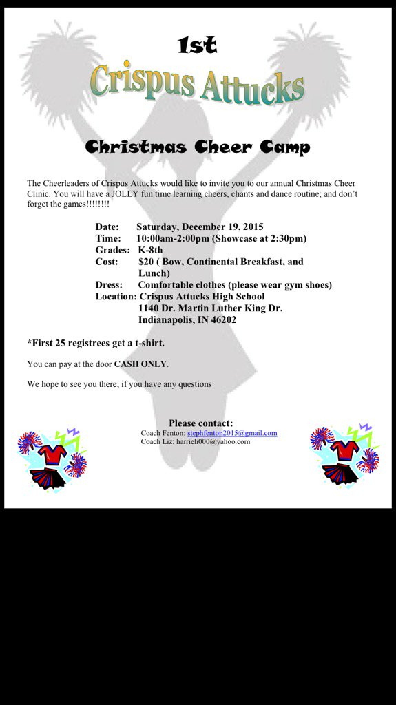 Attucks Cheer On Twitter Join Us For Our First Christmas Cheer Camp 12 19 From 10 2 All Children K 8 Welcome Spread The Word Https T Co 7dyrjrjj4v