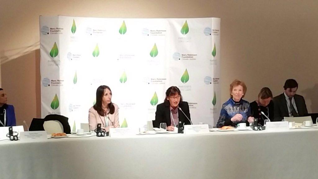 Lancement de la journée internationale des droits de l'homme @COP21 avec Mary Robinson @MRFCJ #COP21 https://t.co/zL1IARzL10