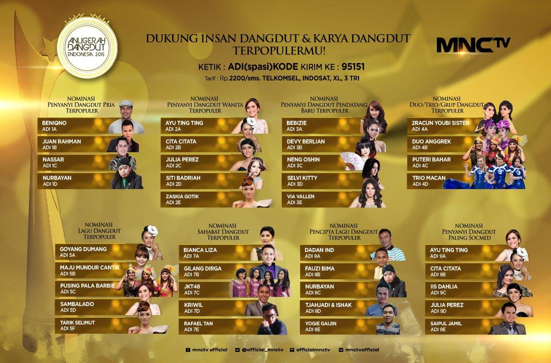 Nominasi Insan Dangdut ADI 2015 via twitter