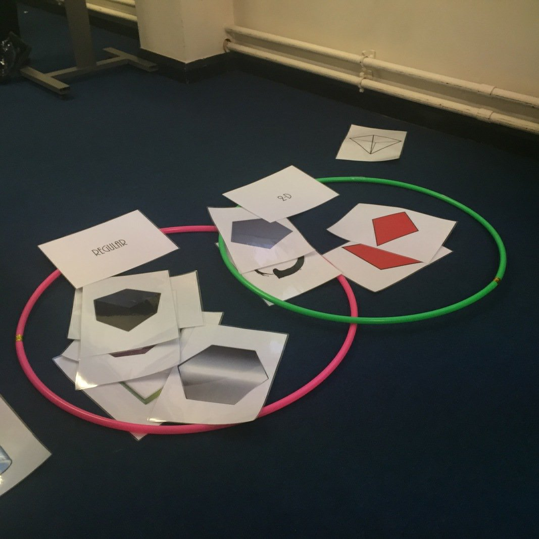 20 20 Learning On Twitter Sorting Shapes With Giant Hula Hoop Venn