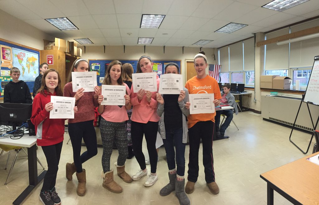 Completion certificates for the #HourofCode #GirlPower @McCarthyMS_AP @ChelmsTech @CPSTechPD https://t.co/wzmYf5SVUm