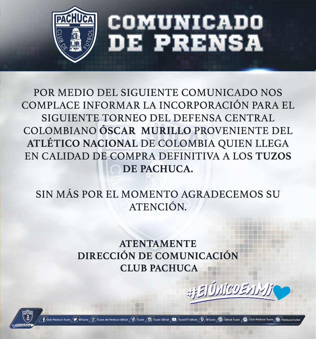 Pachuca informa la llegada de Óscar Murillo como su nuevo refuerzo