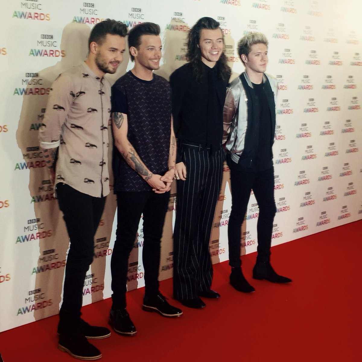 .@OneDirection arriving on the red carpet for the #BBCMusicAwards. Who's excited?