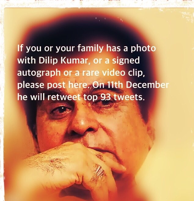 Pls share your photo (taken with @TheDilipKumar) or his autograph.. DK will retweet 93 best tweets on 11 December https://t.co/vP26U8d8Go