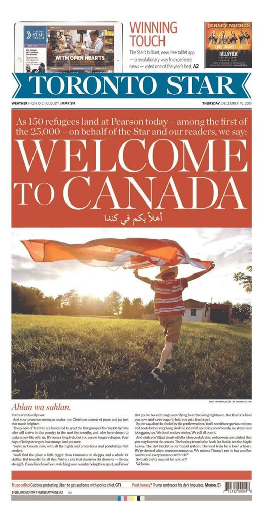 Thank you @TorontoStar for bringing tears of pride to my eyes. Welcome to Canada indeed ❤️ #cdnpoli #refugeeswelcome https://t.co/CkgiatT6SY