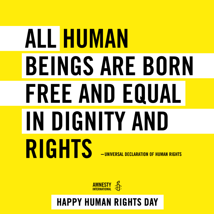 the rights of human beings Every person has these rights simply because they are human beings they are guaranteed to everyone without distinction of any kind, such as race, color, sex, language, religion, political or other opinion, national or social origin, property, birth, or other status.