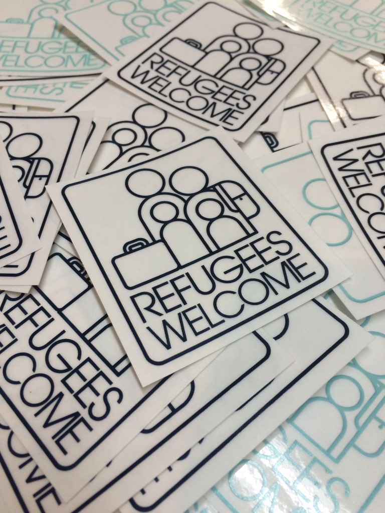 Tune in to @kare11 at 10pm tonight for a great story about our Refugees Welcome sticker with @vedaveda! https://t.co/BgbOLMOpIo
