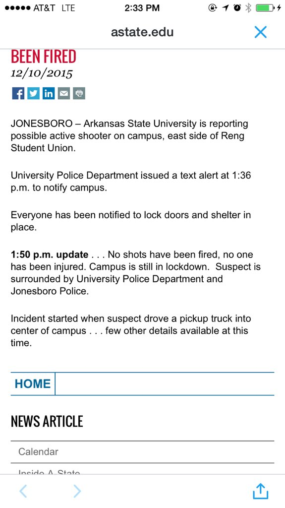 @ArkansasState Checking university page for updates on active shooter situation.  No change so far. https://t.co/f4nSBUJMmF