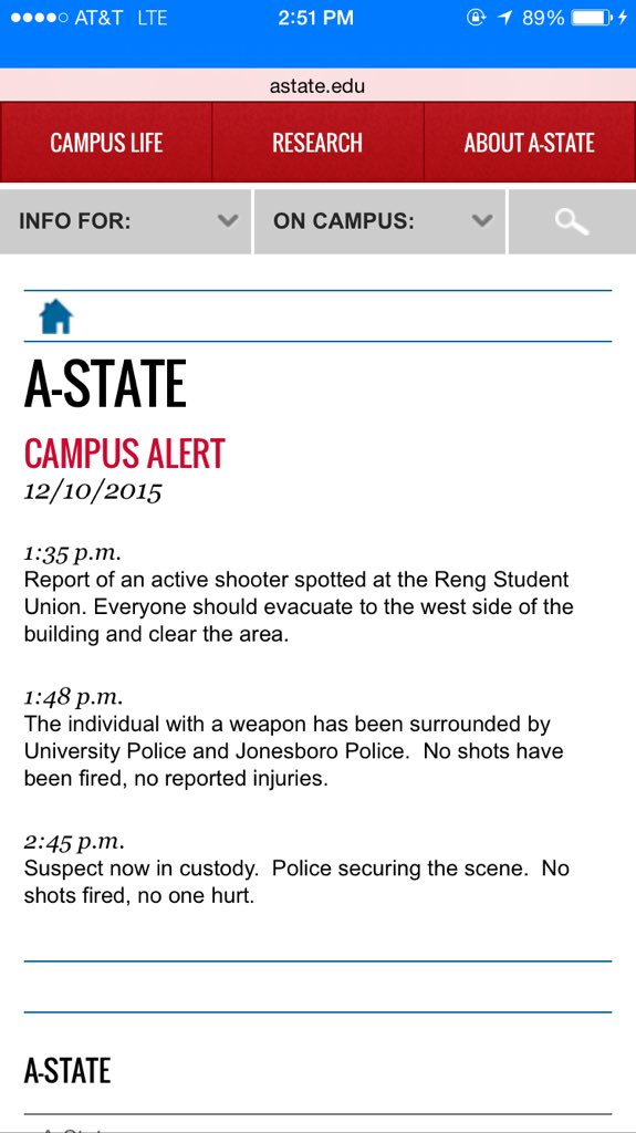 So glad everyone @ArkansasState is safe and no one was injured in this incident. #goodnews https://t.co/NF2mLZwFHz