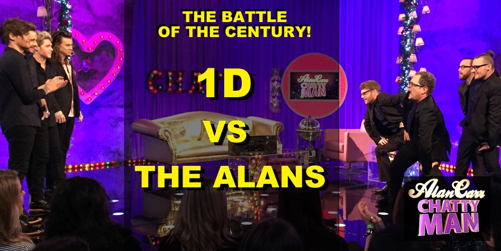 GET READY FOR A BATTLE!! @onedirection vs @AlanCarr tonight 10pm @Channel4