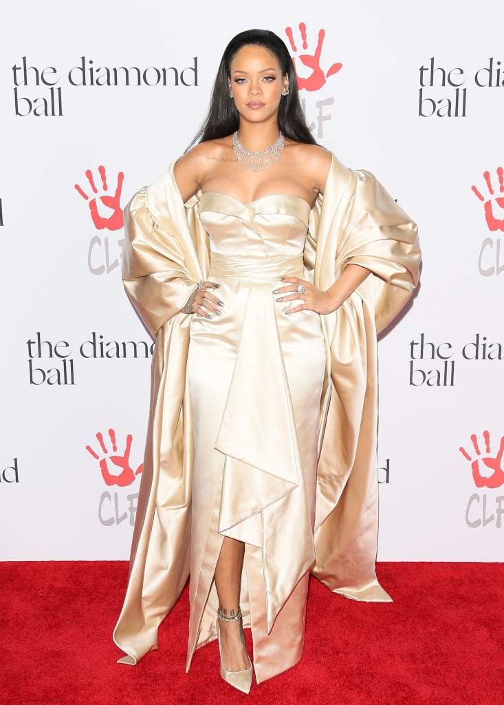 Rihanna wore #DiorCouture at the 2nd Annual Diamond Ball she hosted yesterday in LA. #StarsinDior #DiamondBall