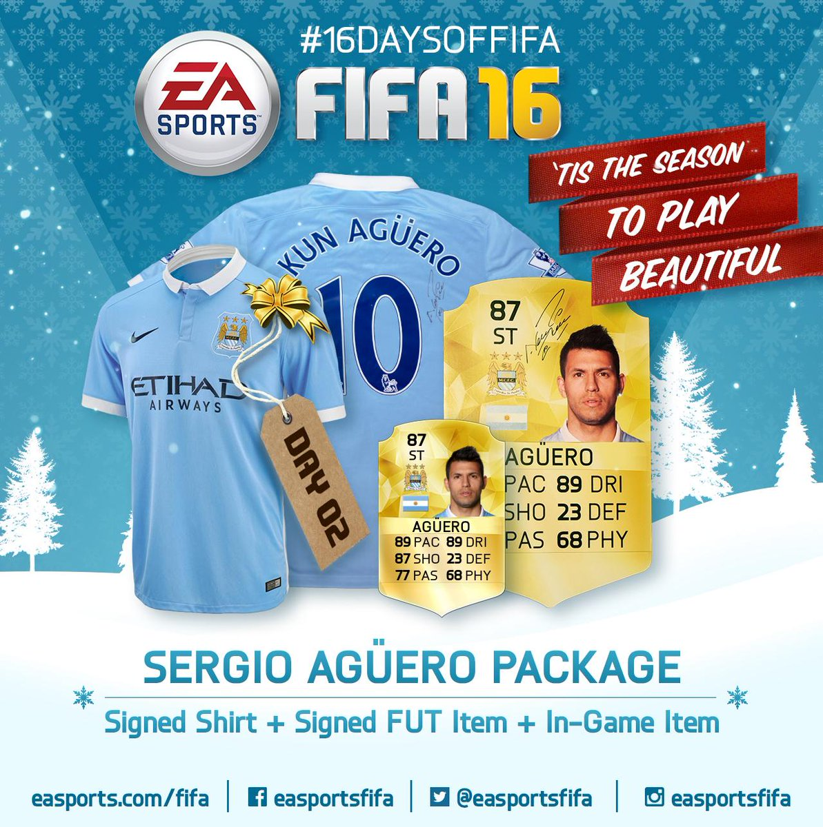 Day 2: Sergio Aguero Package! Follow and RT for a chance to win. #16DaysofFIFA