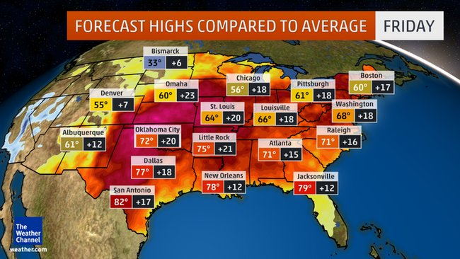 Warmth continues today & into the weekend. Highs up to 30° above average, dozens of temp records in jeopardy. @AMHQ https://t.co/05jGXVHZj7