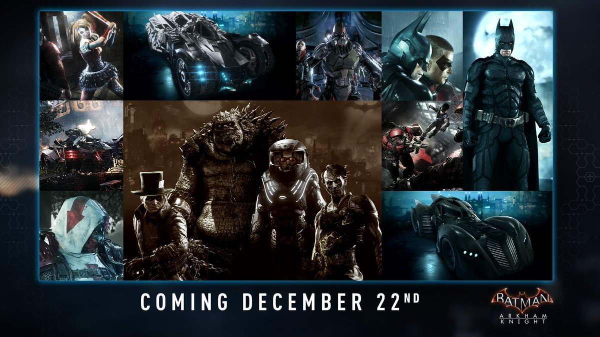 Brand new DLC for #ArkhamKnight will be arriving on 22 December! Here's what to expect in the next content drop... https://t.co/HPsO0SbOZh
