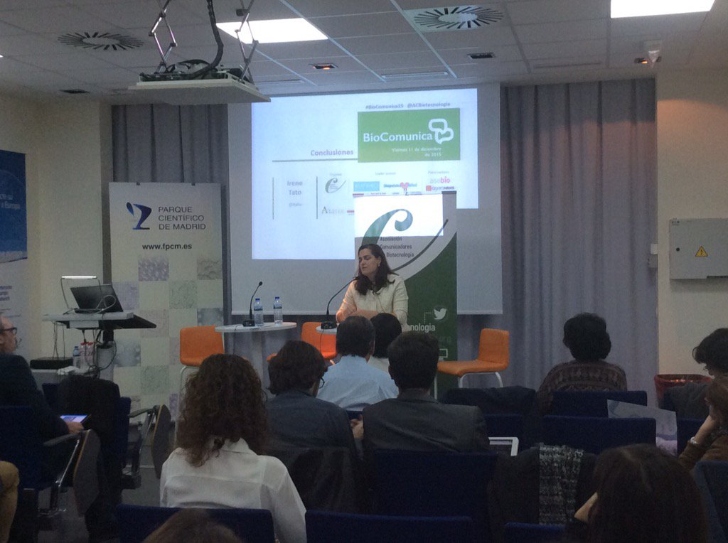 """Conclusiones #biocomunica15 @itato @ACBiotecnologia """"para acercar la biotecnología a la sociedad hacen falta socios"""" https://t.co/mj4URkmHLU"""