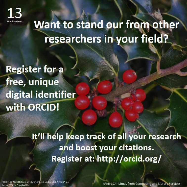 Researchers! Give yourself an early Christmas present: register for an @ORCID_Org ID! #hudlibadvent @WeLoveResearch https://t.co/C7T0rvYluI