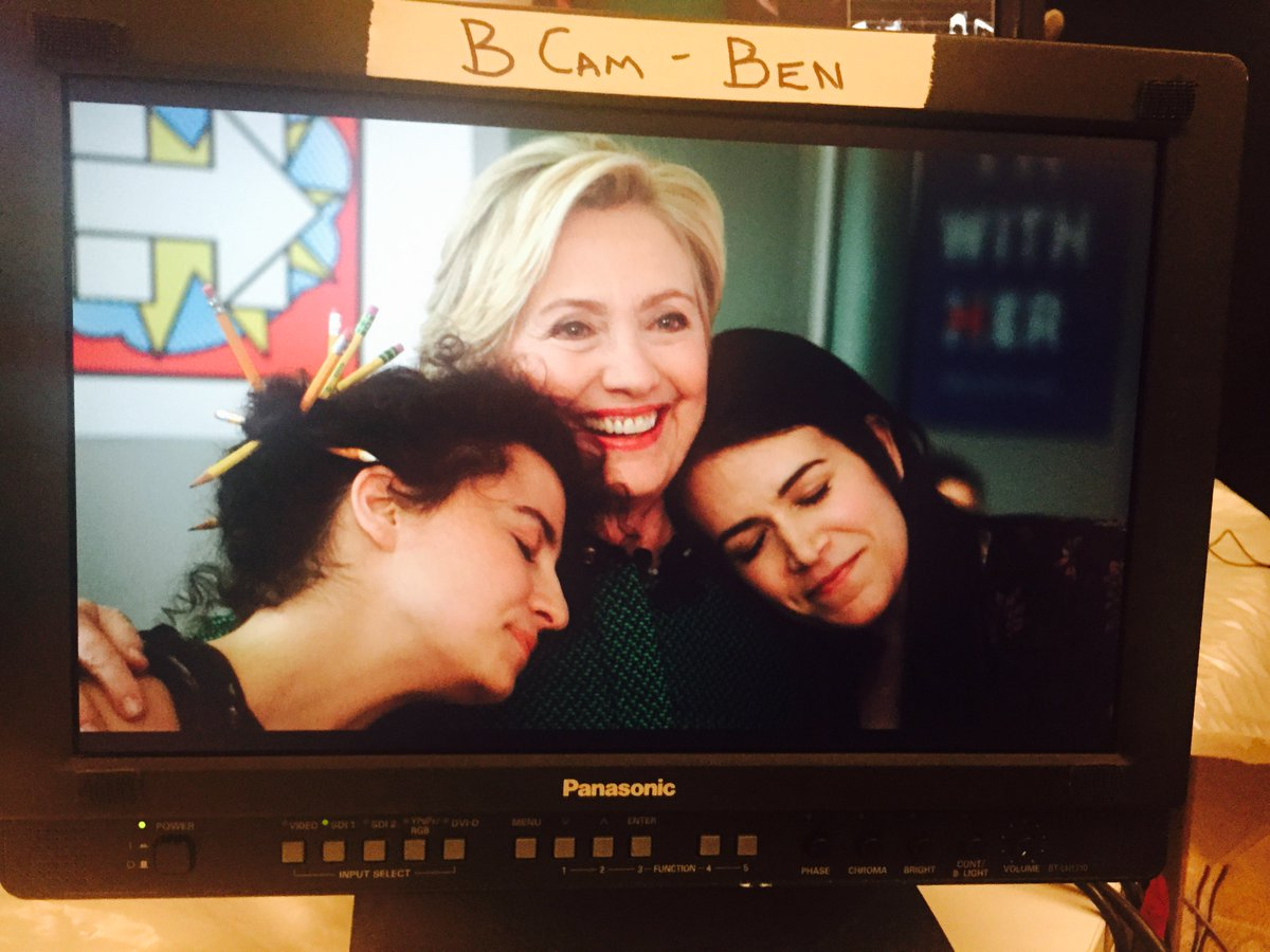 Just three best friends on the set of @BroadCity season 3! #Hillary2016