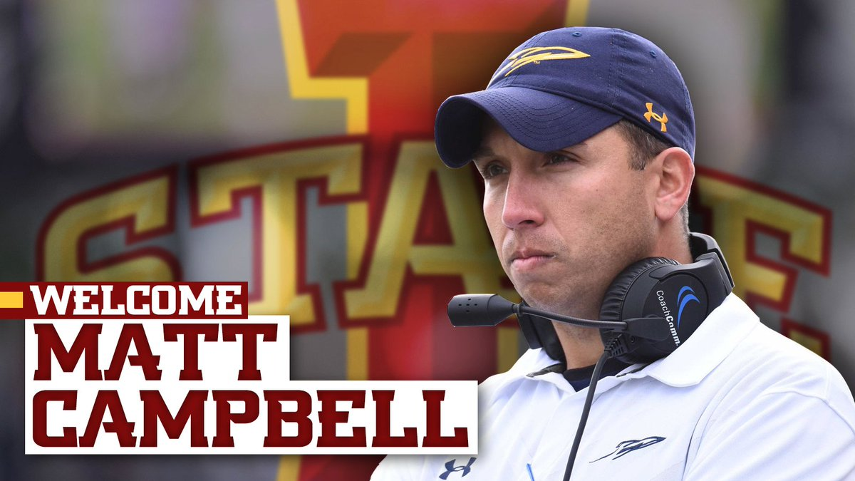 Matt Campbell Named Head Football Coach at Iowa State. https://t.co/tKxAJLLqyD https://t.co/VQjjKQ358F