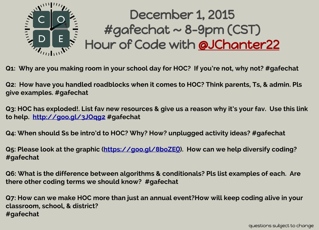 Today's #gafechat is on Hour of Code & will be moderated by  @JChanter22 - be sure to follow her https://t.co/uGASZ6aAJs