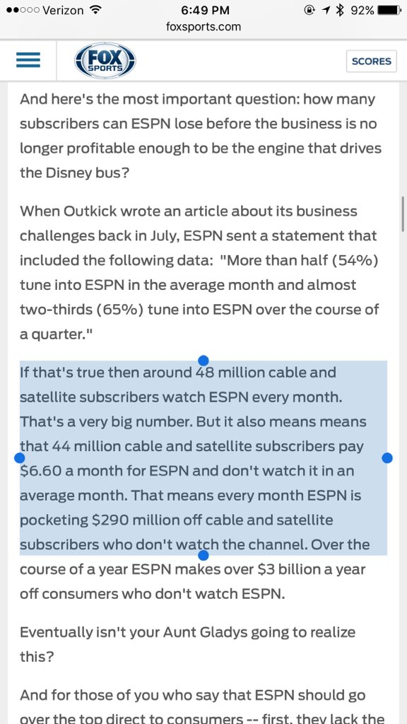 Over the course of a year ESPN makes over $3B / yr off consumers who don't watch ESPN... https://t.co/uLHtg0b1Hm https://t.co/jkBh3C1RcB