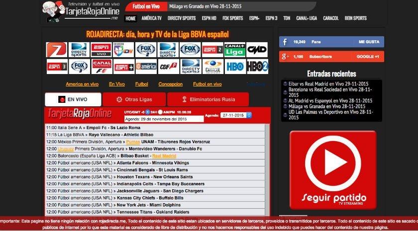 Diretta Streaming Web: TarjetaRojaOnline.me sembra RojaDirecta