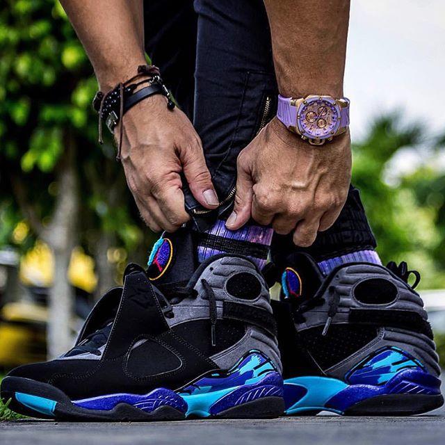 size 40 55812 6af00 ... sneakerblazed™ on twitter on foot look at the air jordan 8 retro aqua  men https ...