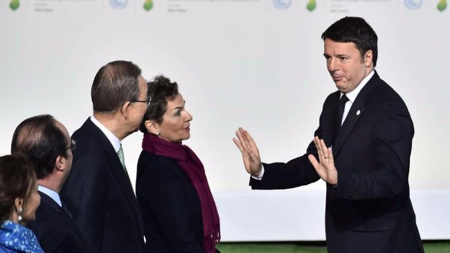 Matteo Renzi al vertice del clima Cop21 di Parigi.