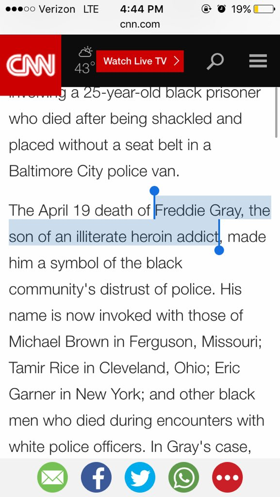 "CNN's @AnnoCNN refers to 26 y.o. Freddie Gray, who was killed by police, as ""the son of an illiterate heroin addict"" https://t.co/V5uVSkOSyI"