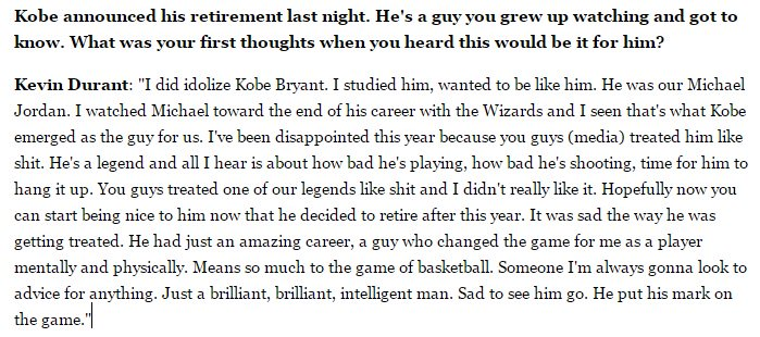 """Kevin Durant on the criticism of Kobe: """"You guys treated one of our legends like sh** and I didn't really like it"""" https://t.co/Nza1C0ey0E"""