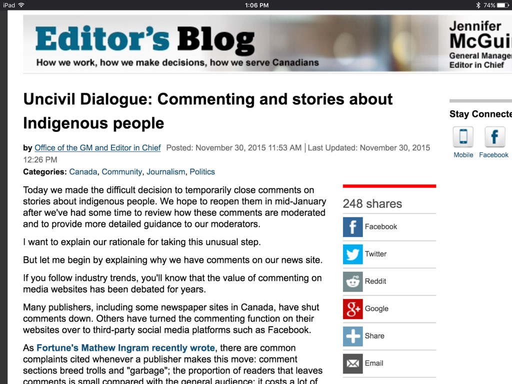 "CBC is ""temporarily"" closing comments on stories about indigenous people because - well, because people are racist. https://t.co/hK9SOoF5Fu"