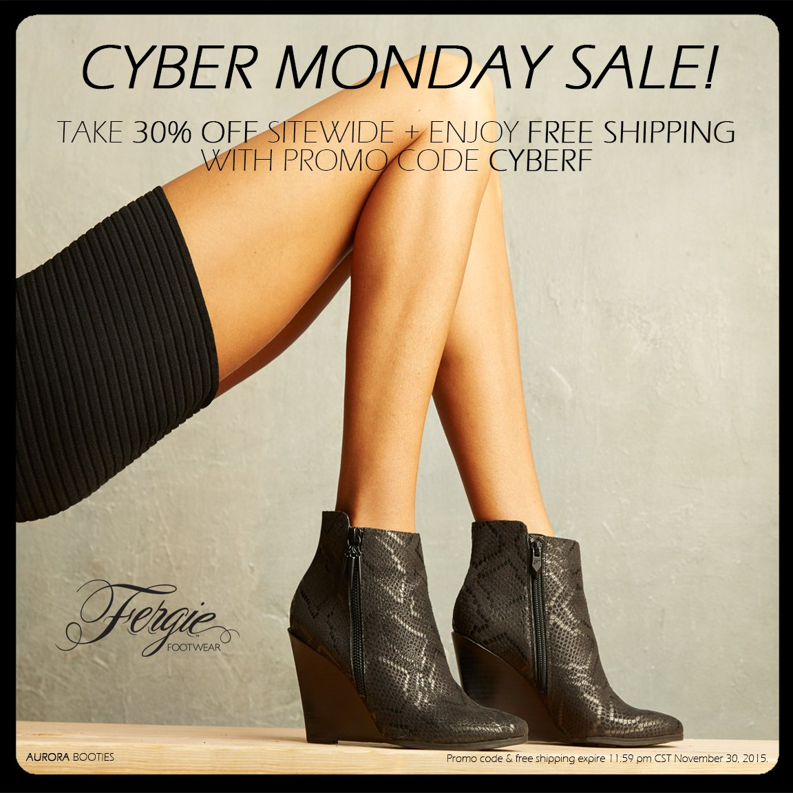 RT @FergieFootwear: #CyberMonday ONLY enjoy 30%OFF @Fergie #shoes + #FREEshipping w/ #promocode CYBERF.#shoesale https://t.co/YYKsJG8ljr ht…