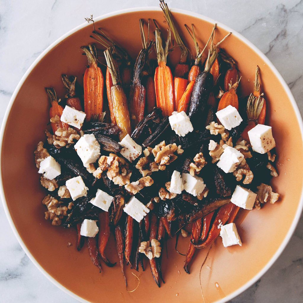 Roasted carrots, dates, walnuts, @athenos feta, all drizzled w brown butter. Up on my blog!  #ad https://t.co/EihatnWjOM