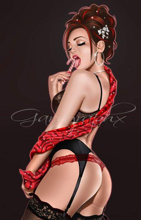 Christmas Candy Cane Signed Print Keith Garvey