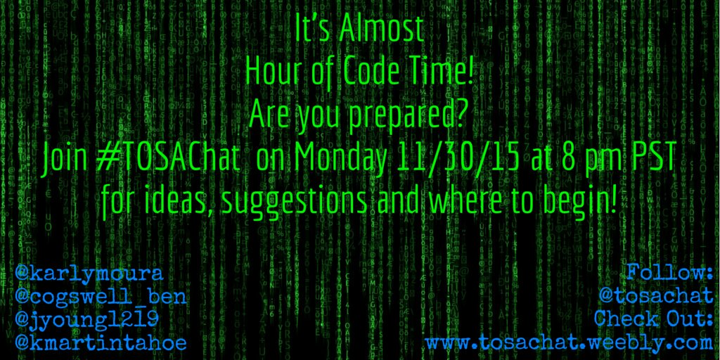 Let's celebrate #CyberMonday with a chat about Coding in the Classroom! Join #TOSAChat at 8PST TONIGHT! @TosaChat https://t.co/uTVaqwSpfO