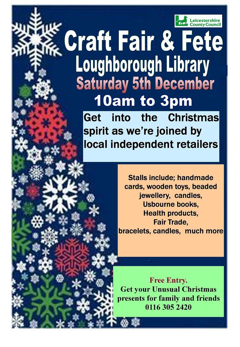 RT @leicslibraries: Loughborough lib craft fair Sat 5th Dec 10-3pm FREE https://t.co/25QCTtNvEQ