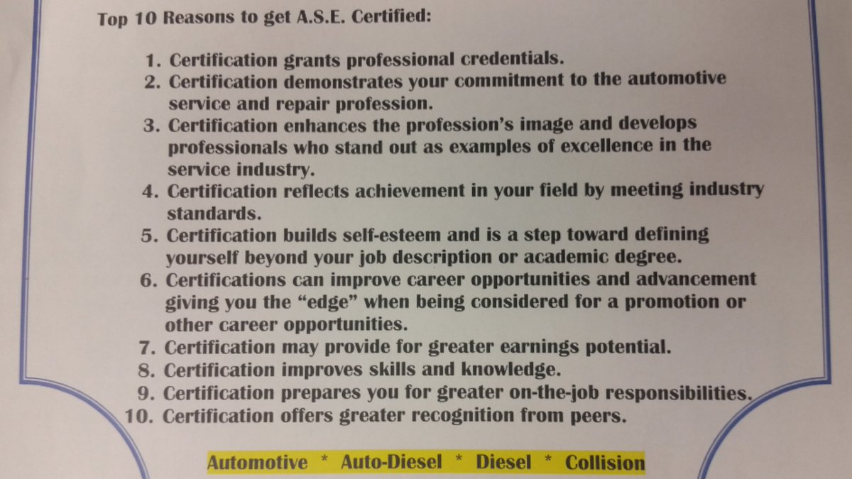 Ohio Tech College On Twitter Top 10 Reasons To Get Ase Certified