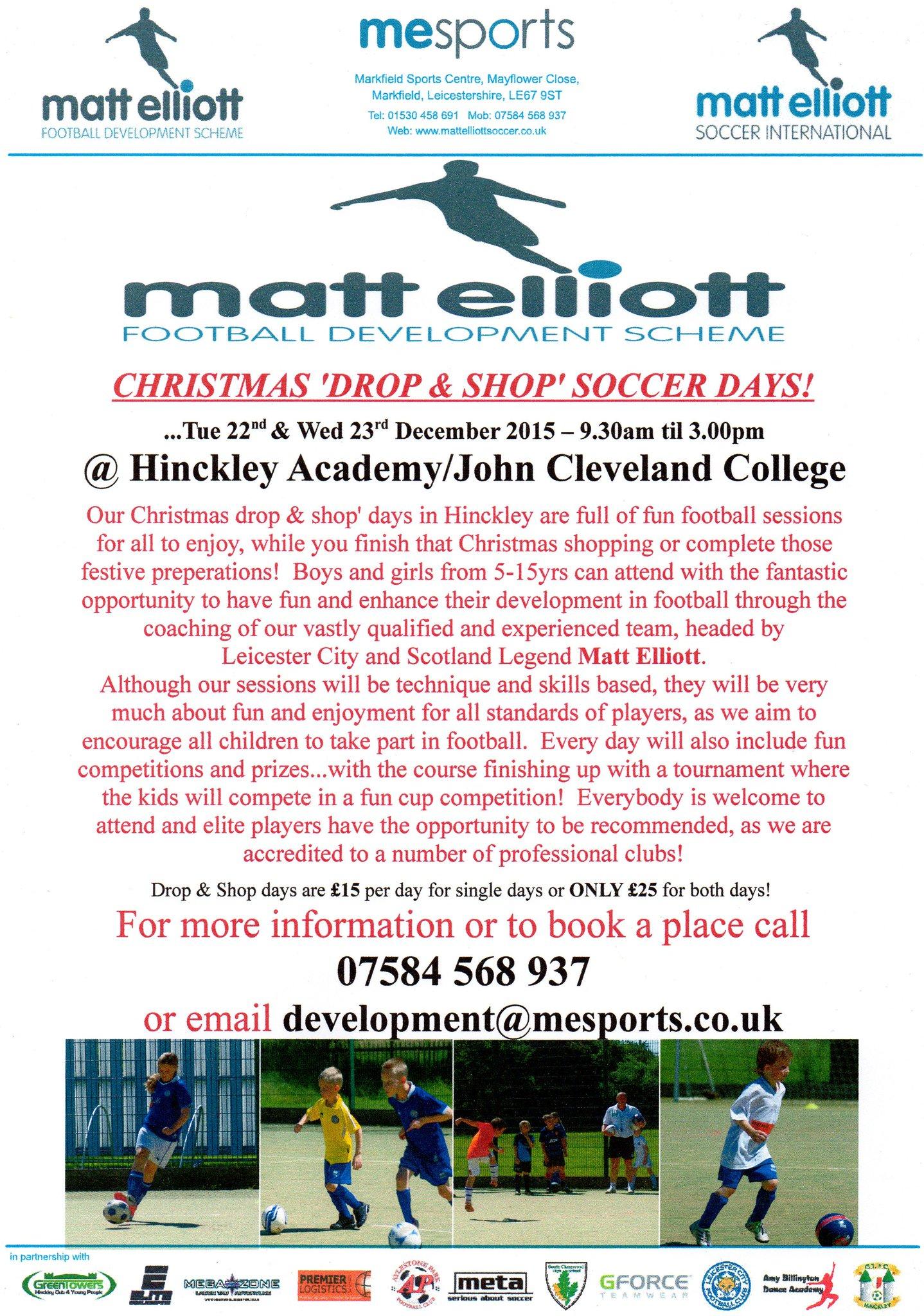 RT @MElliottSoccer: CHRISTMAS 'DROP & SHOP' SOCCER DAYS - 22nd & 23rd Dec @ HINCKLEY ACADEMY/JCC for 4-15yrs boys & girls...All Welcome! ht…