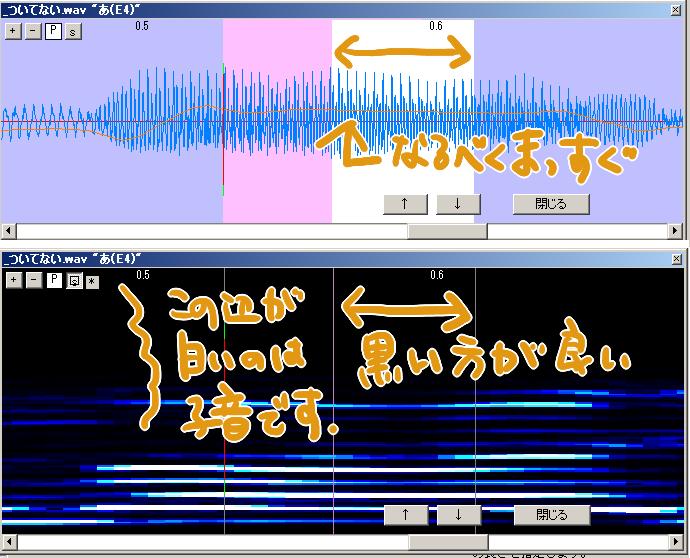 綺麗な音素をコツは、「波形と周波数の綺麗さ」。黄色の線が綺麗に繋がっていてなるべく真っ直ぐな部分を伸縮範囲(白い部分)にする、スペクトなんとかさんの画面が白黒くっきりしているところを伸縮範囲にするだけで、出音がかなり変わります。
