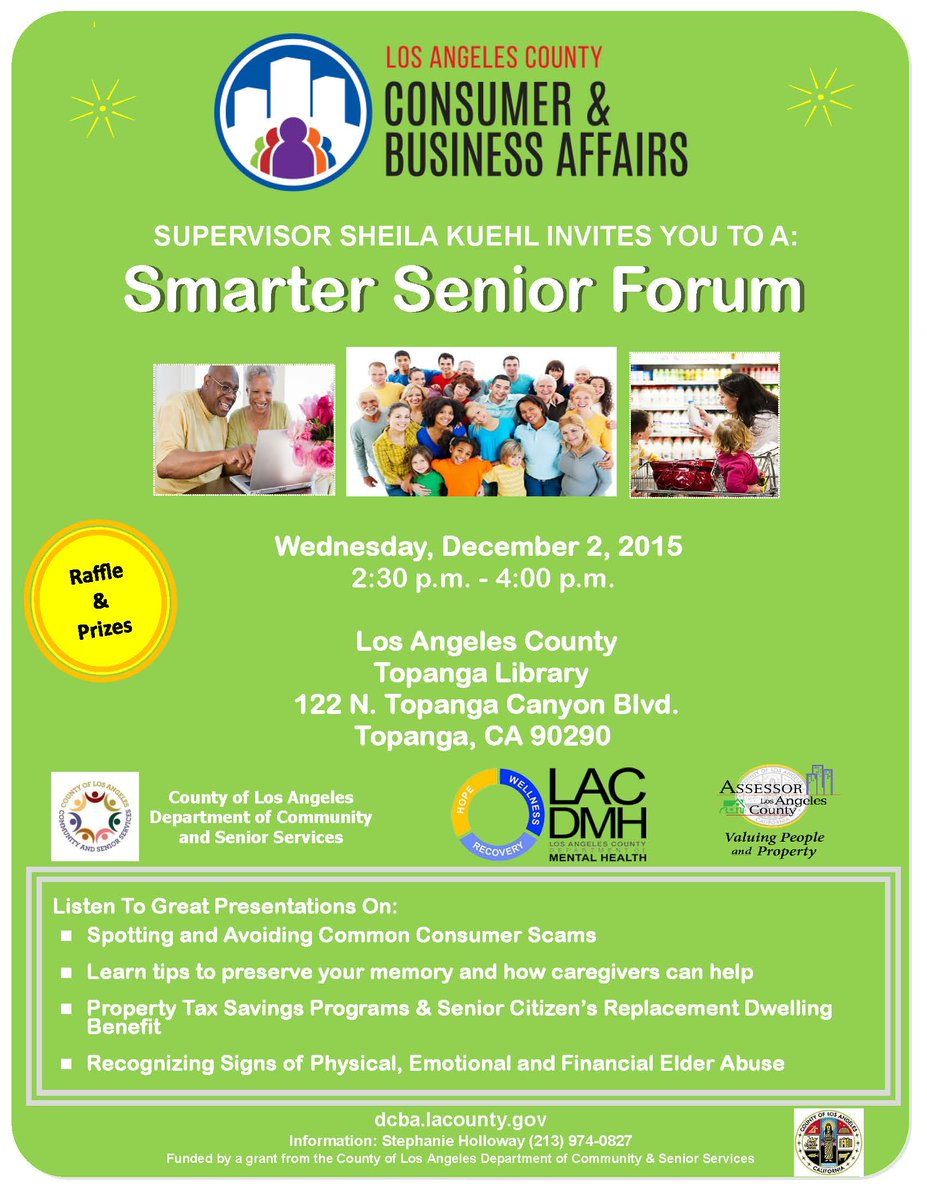 RT @LACountyDCBA Bring a loved one to @TopangaLibrary on Wednesday for free tips to avoid elder abuse. Smarter Senior Forum, 2:30 pm.