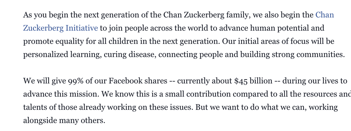 Zuckerberg pledges to donate 99% of his shares https://t.co/vr1Nl3QRJc