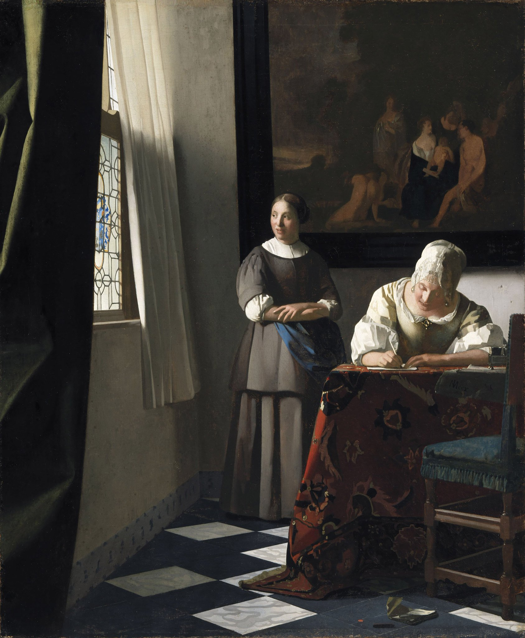 Картинки по запросу johannes vermeer lady writing a letter with her maid