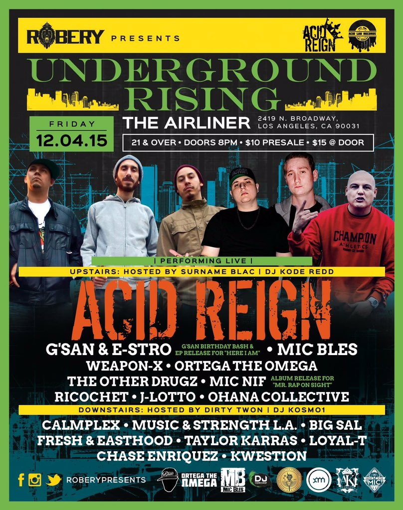 In 3 days! @AcidReigners at The Airliner for @UGRising https://t.co/9oXsOrBtND