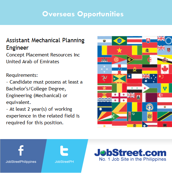 JobStreet PH On Twitter A Company In UAE Is Looking ASSISTANT MECHANICAL PLANNING ENGINEER Click Here Tco OTYu7VB9eC
