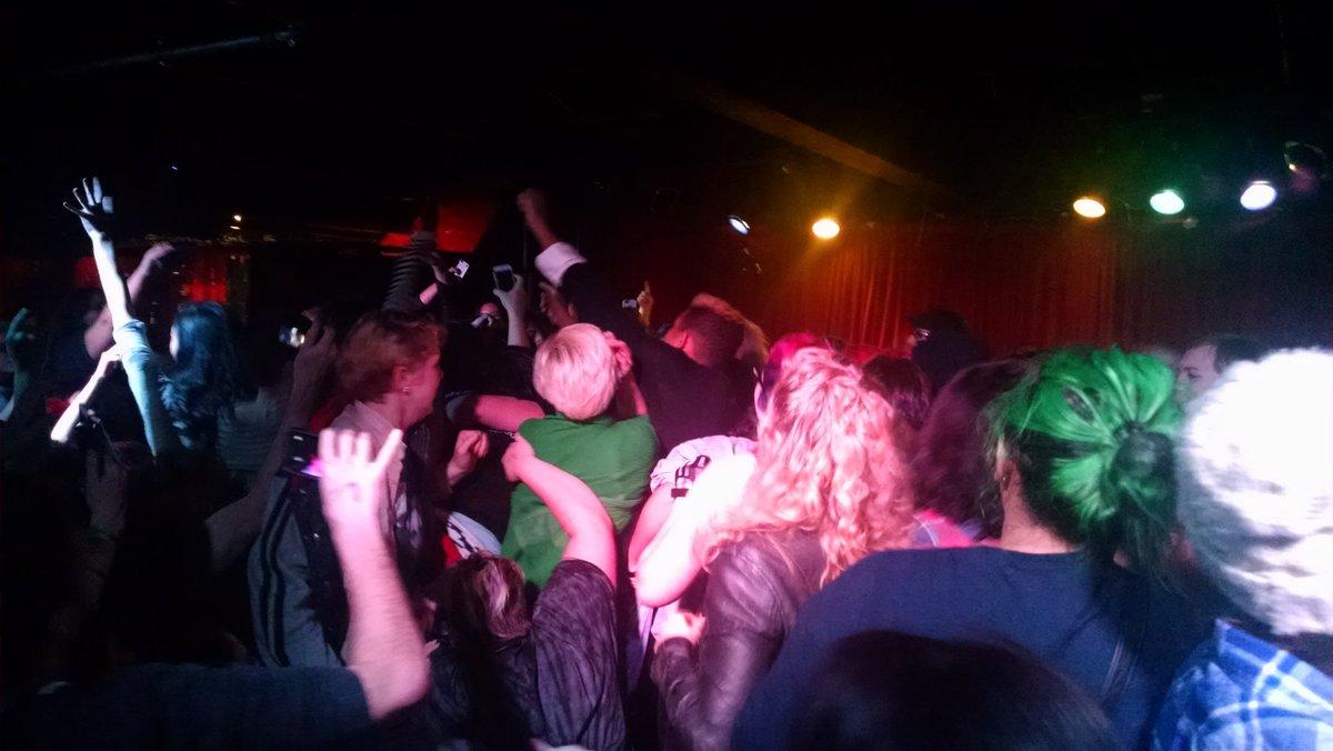 Massive stage invasion at @thegrogshop during @FrankIero set. https://t.co/6W2VyZi0uK
