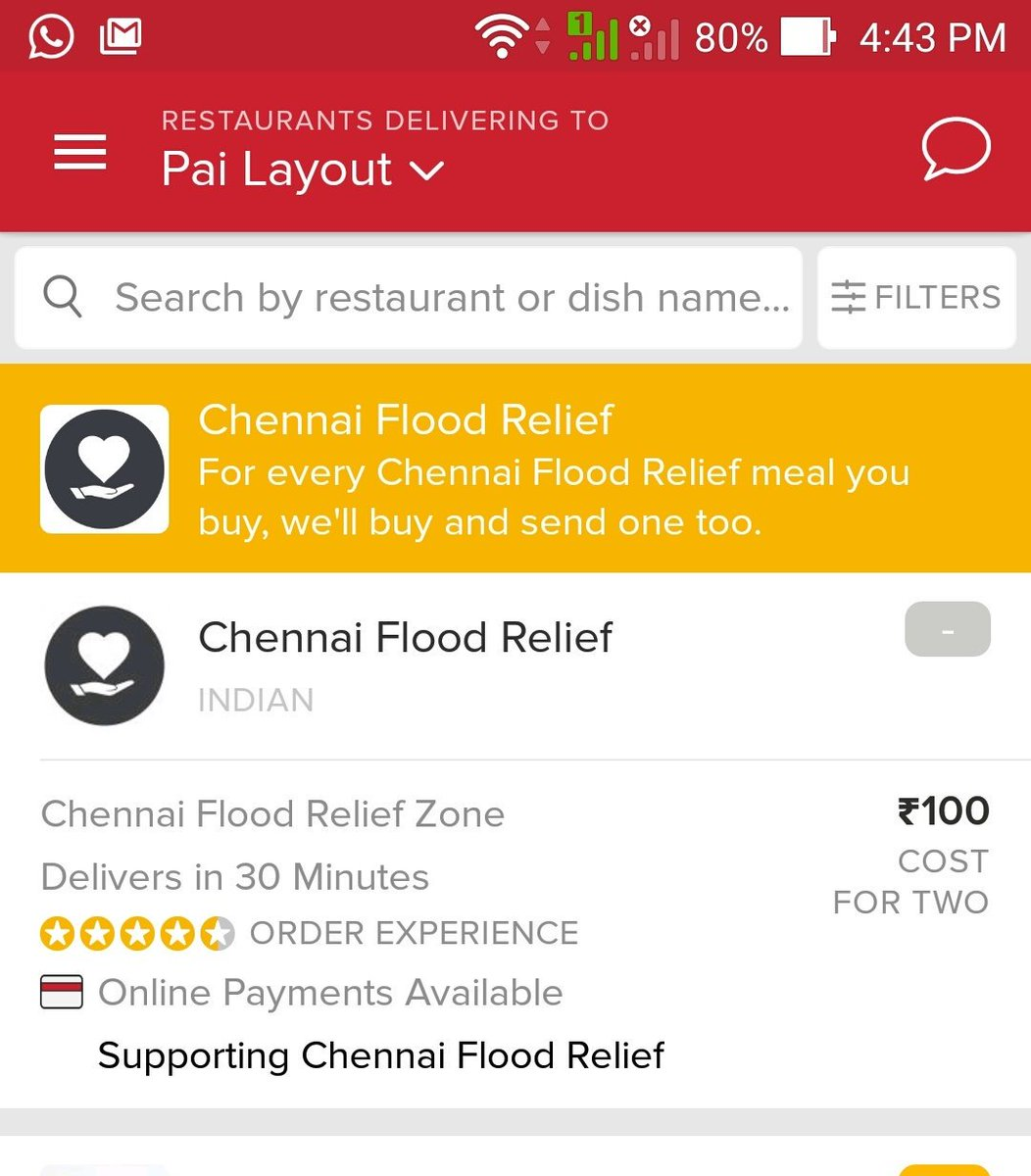 #ChennaiFloods Zomato's Order app is helping deliver food for ppl in #ChennaiRainsHelp app: https://t.co/BMYe6Yj0QC https://t.co/mS5Vp5ZA3y