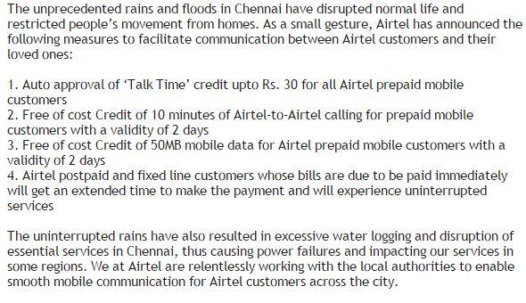 Airtel supports the people of Chennai. #ChennaiFloods @kiruba @varunkrish @arrahman @dhanushkraja @trishtrashers https://t.co/yM4AM6ygv5