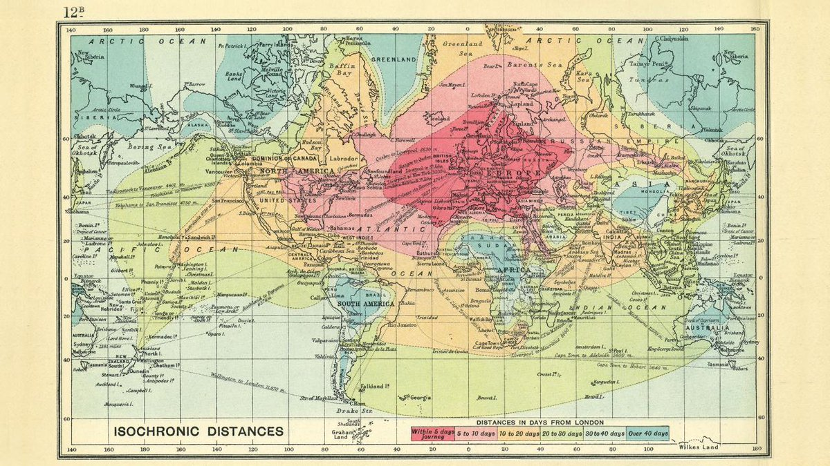 A 1914 isochronic map that showed how long it took to travel around the world from London https://t.co/Uegyc7JQOr