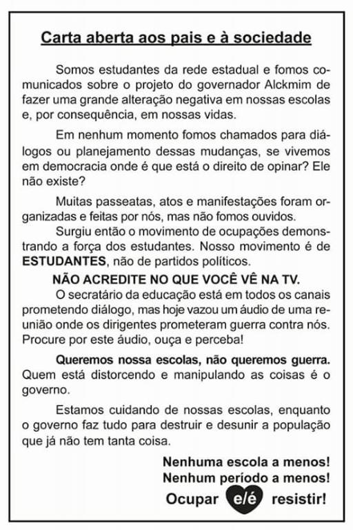 Primeira escola a ser ocupada em SP, EE Diadema publica carta à sociedade e aos pais e denuncia: nunca houve diálogo