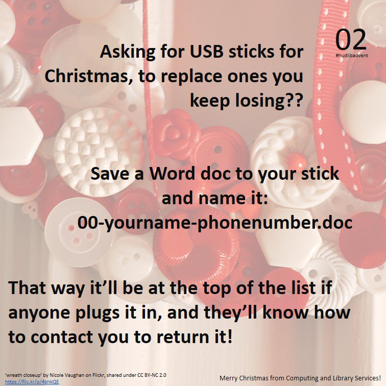 Here's a useful tip for forgetful types, for day 2 of #hudlibadvent... https://t.co/JoqJ7tKEHJ