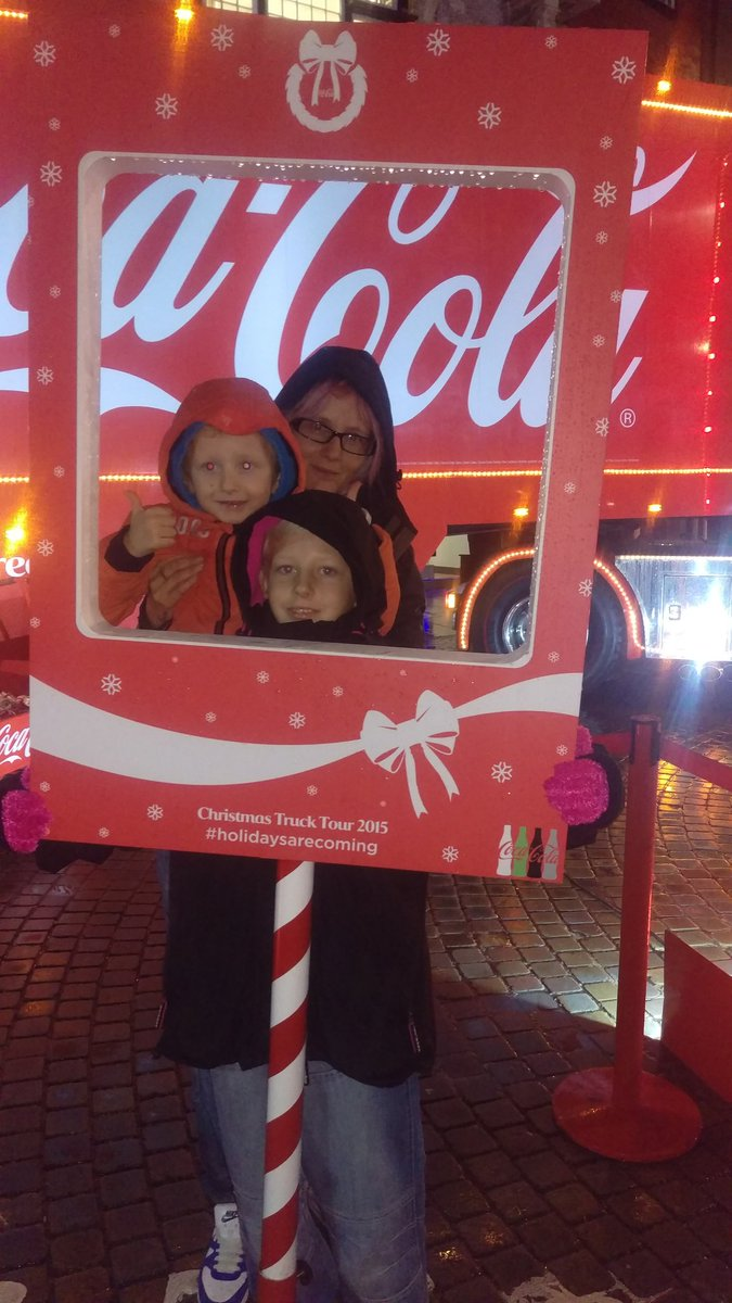The kids in town at the coke lorry #HolidaysAreComing